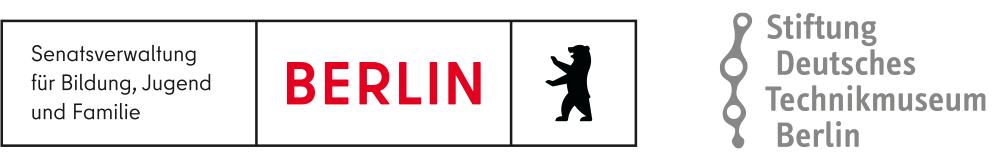 Logo der Senatsverwaltung für Bildung, Jugend und Familie und Logo der Stiftung Deutsches Technik Museum