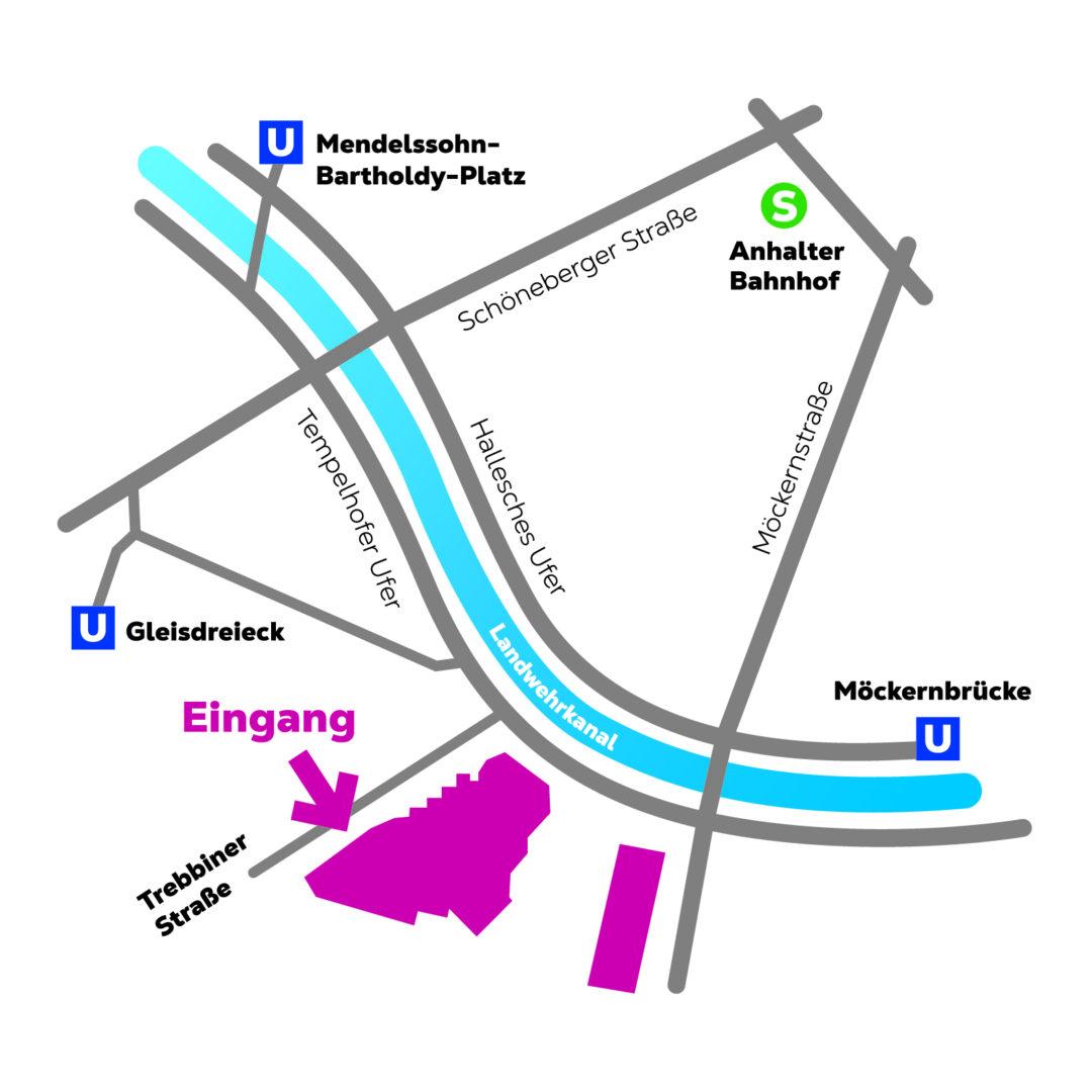 Anfahrtsplan des Deutschen Technikmuseum, Nähe U-Bahn Gleisdreieck